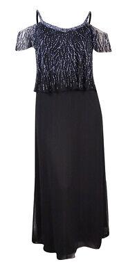 J Kara Women's Beaded Popover Cold-Shoulder Crepe Gown