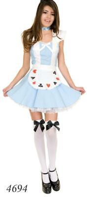 Ladies Alice in Wonderland Costume Womens Book Day Fancy Dress Adults Outfit UK