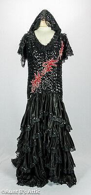 Spanisch Senorita Kleid Deluxe Paillette & Poly Satin Damen-Kostüm Kleid Med-Lg