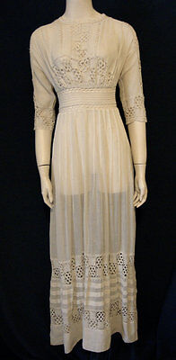 Vintage Edwardian Tea Dress Downton Abbey Ivory Cotton Wedding Lace XS Small