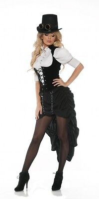 Victorian Steampunk Costume White Blouse Black Skirt Hi-Low Adult Women's XS-XL](Adult Victorian Costume)