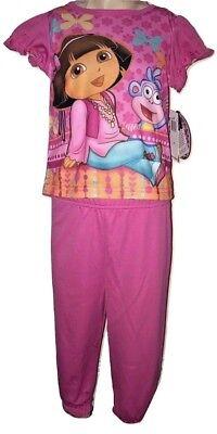 Dora The Explorer Girls 2 Piece Short Sleeve Pink Pajamas - The Explorer Girls