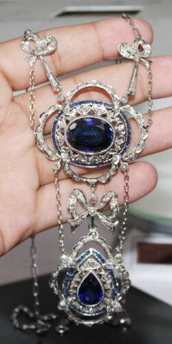 5.90ct ROSE CUT DIAMOND SAPPHIRE ANTIQUE VICTORIAN LOOK SILVER PENDANT NECKLACE