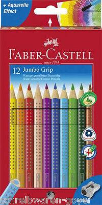 Farbstifte Jumbo-Grip 12er Kartonetui 110912 Buntstifte Faber-Castell + Spitzer