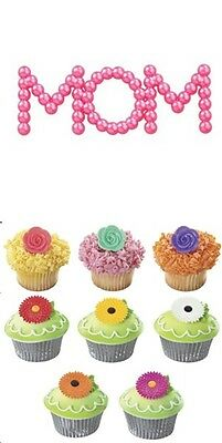24 Flowers  Rose & Gerber Daisy Cupcake Picks W/ Free Mothers Day Cake Topper](Rose Cupcakes)