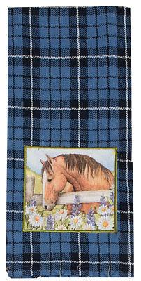 Kay Dee Designs GRACE and BEAUTY Blue 100% Cotton Kitchen Towel Horses
