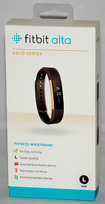 BRAND NEW Fitbit Alta FITNESS Tracker WRISTBAND Black / Gold Series - Large