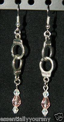 Pink Crystal Silver Handcuffs DANGLE Pierced EARRINGS Police - Handcuffs Earrings