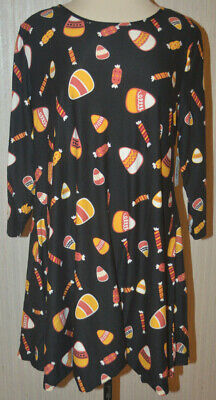 Candy Dresses For Halloween (Women's City Streets Black Candy Corn 3/4 Sleeve Slip On Swing Dress Sizes L,)