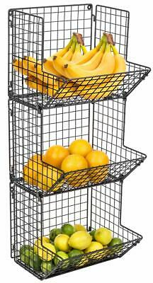 3-Tier Fruit Stand Wall Mount Kitchen Storage Multipurpose Foldable Organizer