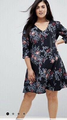 Junarose Shift Dress Floral Size 22 Black Pink And Blue