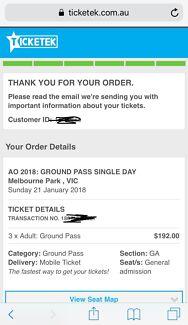 Australian Open - Ground Pass Ticket x 3- Sunday 21 Jan 2018