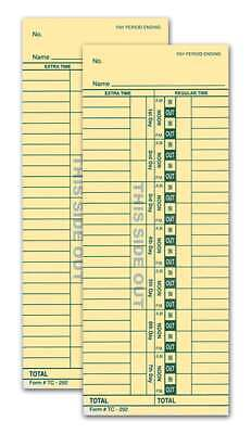 2-sided Time Clock Cards Form Tc-292 3.5 X 9 Green 250 Per Pack