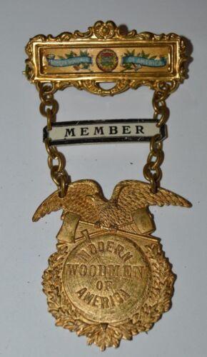 Vintage Early Golden Modern Woodmen of America Member Metal Chain Pin Rare Minty