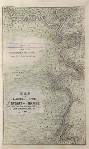 1852 Rio Atrato Darien Panama Trautwine Raspadura InterOceanic Ship Canal Map