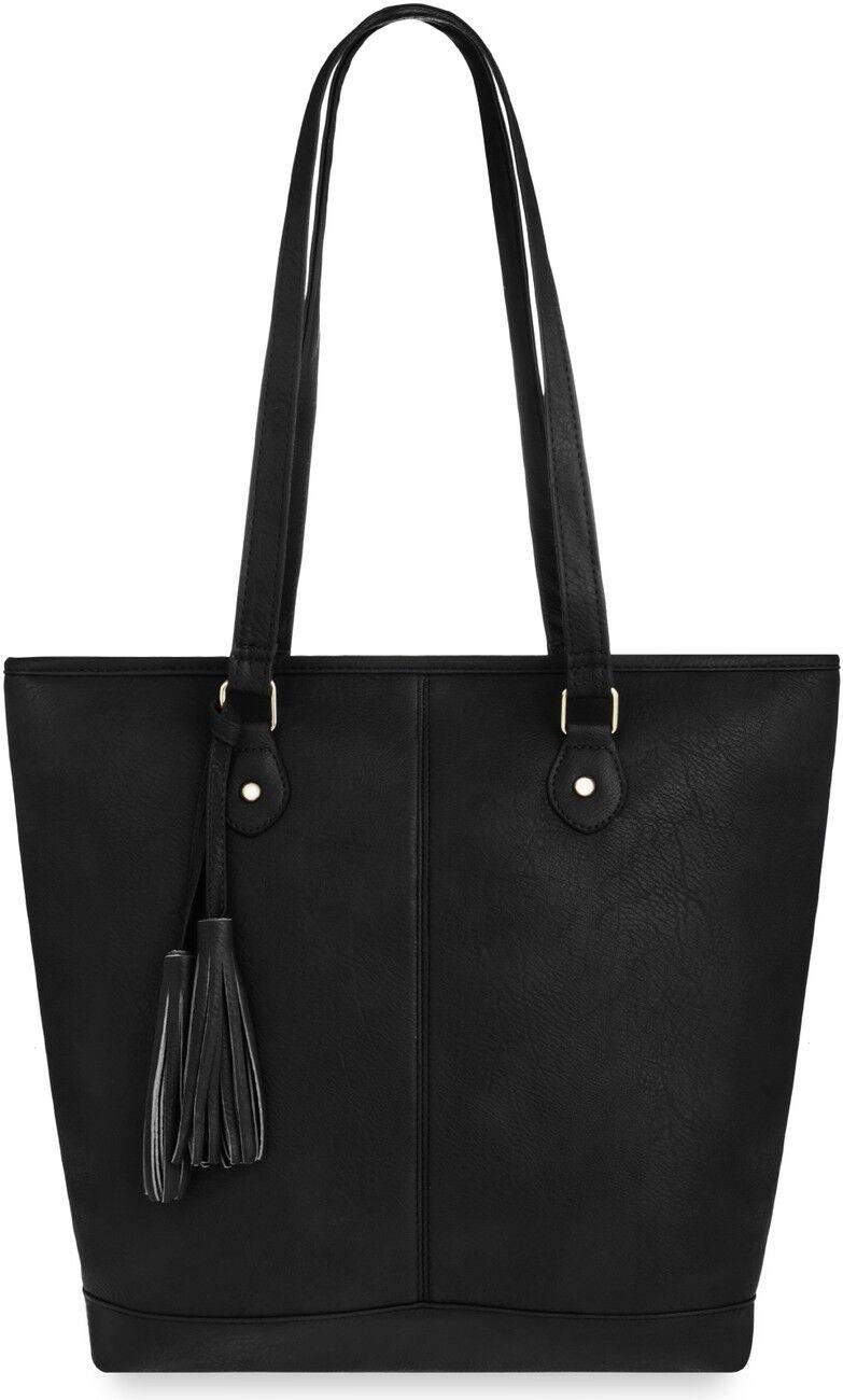 Eleganter Shopper große Damentasche mit Fransen Handtasche schwarz