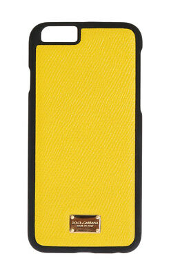 NEW $150 DOLCE & GABBANA Phone Case Skin Yellow Dauphine Leather Logo iPhone6
