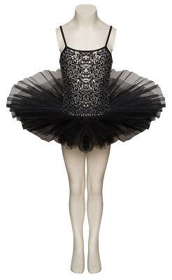 Schwarz Funkelnd Tutu mit Silber Pailletten Tanz Ballett Kostüm Katz Dancewear