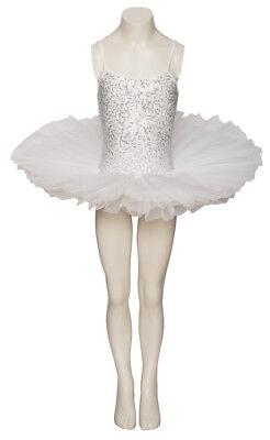 Weiß Funkelnd Tutu mit Silber Pailletten Tanz Ballett Kostüm Tutu Katz Dancewear