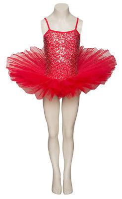 Rot Funkelnd Tutu mit Silber Pailletten Tanz Ballett Kostüm Tutu von Katz