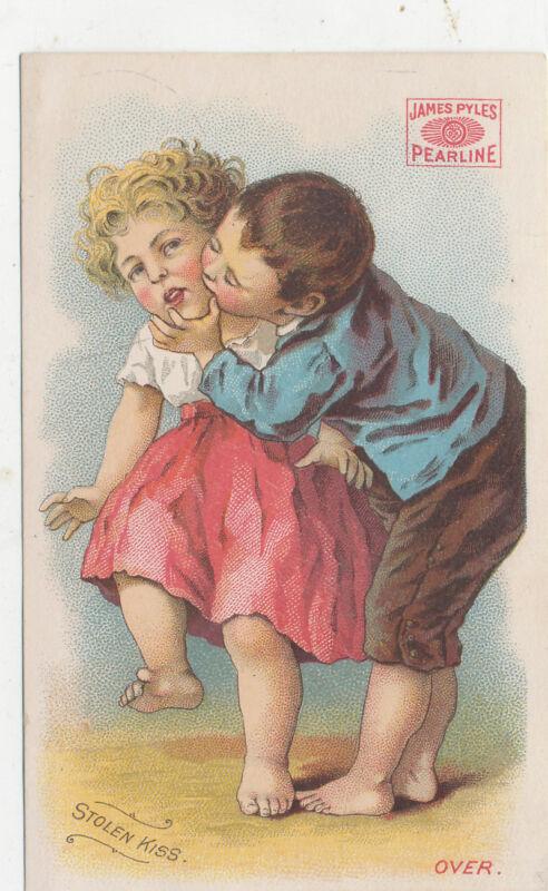D1001  VICTORIAN TRADE CARD STOLEN KISS PEARLINE SOAP