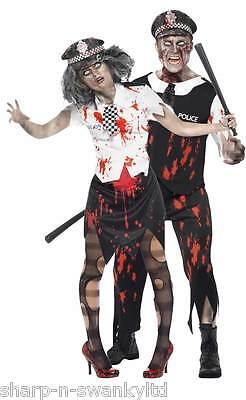 Herren & Damen Paar Kostüm Toter Zombie Polizei Halloween Verkleidung Outfit