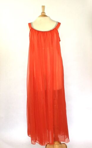 Vintage 1960s Sterling Sophisticates Red Nightgown w/ Silver Embellishment Sz L