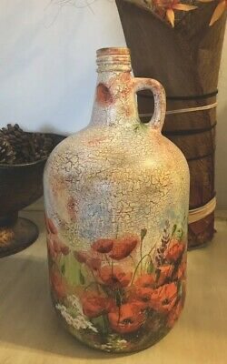 Hand Painted, Upcyclead, Decoupaged, Glass Bottle-jug, Red Poppies