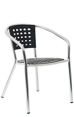 Lot Of 10 Aluminum Restaurant Outdoor Patio Black Resin Seat Back Chair