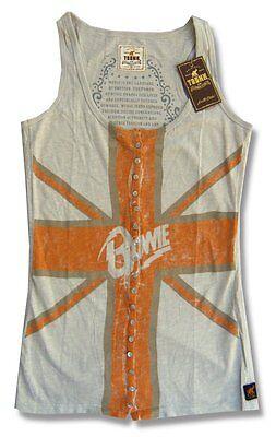 DAVID BOWIE & TRUNK LTD FLAG IMAGE TAN GIRL JUNIORS TANK TOP SHIRT SMALL S
