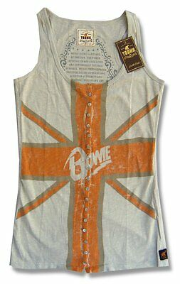DAVID BOWIE & TRUNK LTD FLAG IMAGE TAN GIRL JUNIORS TANK TOP SHIRT SMALL S