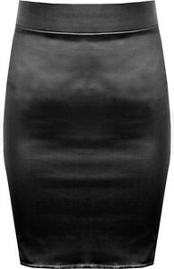 New Plus Size Black Shiny Wet Look Peplum Skater Flared Top Midi Skirt 16-26