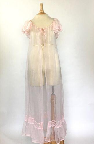 Vintage 60s Tosca Pale Pink Nylon Robe Peignoir Style #6950 Size M
