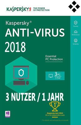 Kaspersky Anti-Virus 2018 - 3 PCs Nutzer 1 Jahr Vollversion Upgrade Download Key
