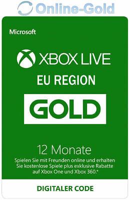 12 Monate XBOX Live Gold Mitgliedschaft Code Microsoft ONE 360 - EU Region ONLY (Xbox Live 12 Monat)