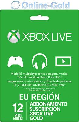 Xbox Live Gold Suscripción 12 Meses código Xbox One 360 Microsoft Tarjeta...