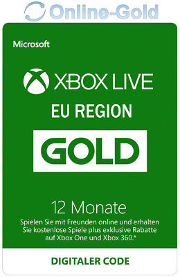 12 Monate XBOX Live Gold Mitgliedschaft Code Microsoft ONE 360 - EU Region ONLY