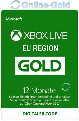 Xbox Live 12 Monate Gold Mitgliedschaft Card - Xbox 360 & One Download Code - EU (Xbox Live 12 Monat)