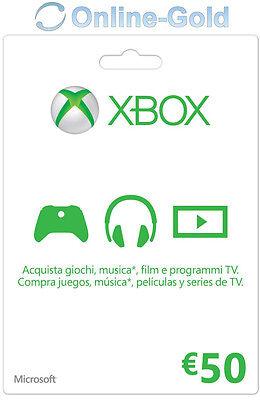 Xbox Live Tarjeta Regalo 50 Euro - Microsoft Xbox 360 One €50...