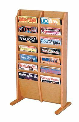 Wooden Mallet Cascade Free Standing 14 Pocket Magazine Rack Light Oak MR14-FSLO