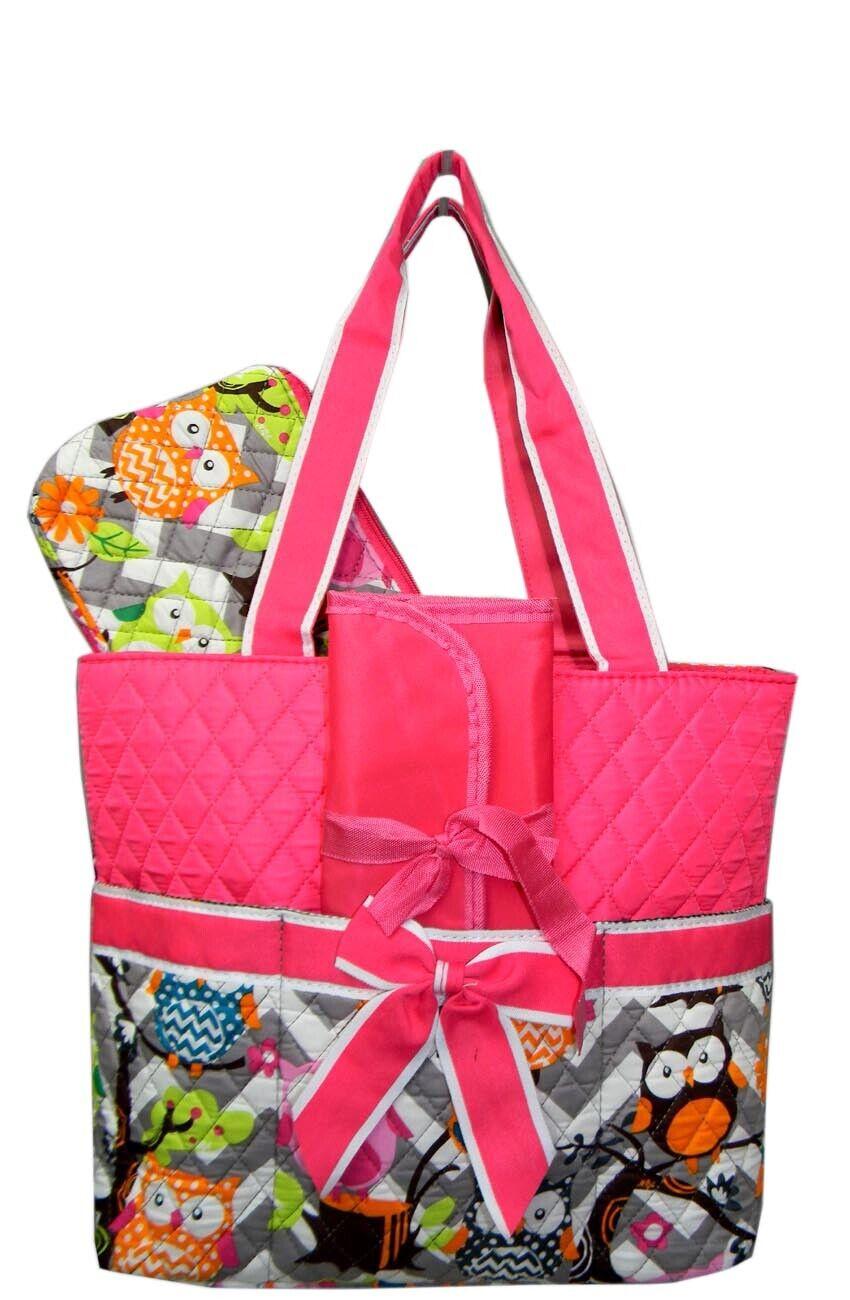 NGIL Quilted 3pcs Gray Chevron Owl w/Pink Trim Diaper Bag-Mo