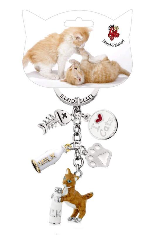 LittleGifts Hand Painted Kitten & Bottle Keychain