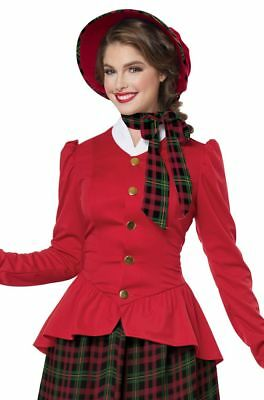 Women's Victorian Christmas Caroler Dickens Dress Xmas Costume Muff Plaid Skirt