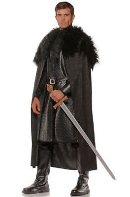 Underwraps Renaissance Cape Cloak Fur Black Adult Mens Halloween Costume 28544 - Mens Black Cape