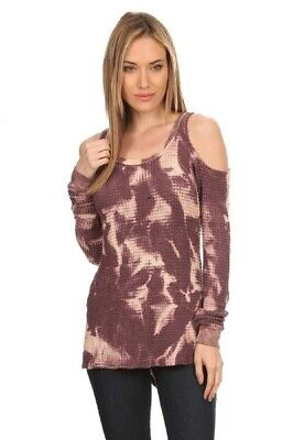 T-PARTY Plum Beige Tie Dye Waffle Open Cold Shoulder Long Sleeve Top  S M L XL - Plum Party