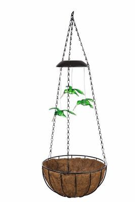 Hanging Basket with solar LED & 3 Hummingbirds - 3 baskets