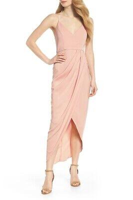 Shona Joy Tulip Hem Draped Maxi Dress Dusty Pink Size 4 New
