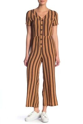 NEW Hiatus Womens Jumpsuit Size MEDIUM  V-Neck BRONZE Striped BUTTON NWT