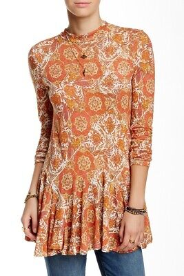 New FREE PEOPLE Long Sleeve Orange Printed Tunic Top Size L Annabelle