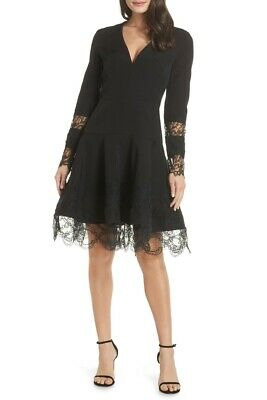 NWT BRONX AND BANCO Antonia Fit & Flare Black Lace Dress Long Sleeve, V Neck